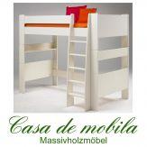 Etagenbett weiß lackiert Hochbett groß 90x200 For Kids - MDF