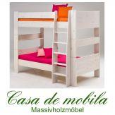 Massivholz Etagenbett weiss 90x200 For Kids - Holz Kiefer massiv weiß
