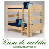 Massivholz Etagenbett Kiefer lackiert 90x200 For Kids - Holz massiv