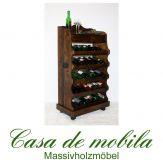 Massivholz Weinregal Flaschenregal für 30 Flaschen kolonial DECOR Fichte massiv gebeizt/lackiert