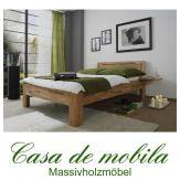 Massivholz Holzbett Kernbuche massiv Buchenbett Vollholzbetten Bett Naturholzbett CARO - mit Nachtkonsole 100x200