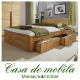 Massivholz Schubladenbett Kernbuche / Buche massiv CARO - 100x200, Bett mit Schubladen