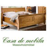 Massivholz Doppelbett Kiefer massiv honig Bett Holzbett lackiert ROLAND Kiefernbett Landhaus 180x200