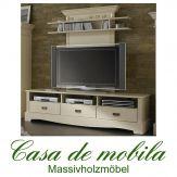 Massivholz TV-Lowboard groß mit Wandpaneel Kiefer massiv cremeweiß TV Schrank PARIS - Vintage, champagner