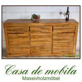 Massivholz Sideboard Akazie massiv TECKY - teakfarben lackiert