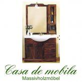 Massivholz  Badmöbel Badezimmermöbel Kolonial set Pappel massiv AQUA - 105cm, mit Regal