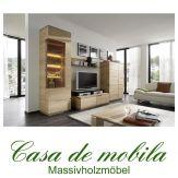 Massivholz Wohnwand rustikale Asteiche massiv gebürstet bianco geölt - Anbauwand ACERRO