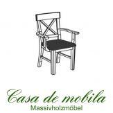Massivholz Armlehnstuhl mit polster Kiefer massiv weiß lasiert ALENA - Holzstuhl Armlehnstuhl mit Polster