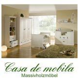 Massivholz Babyzimmer / Kinderzimmer Kiefer massiv weiss ODETTE - komplett, weiß