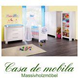 Massivholz Babyzimmer / Kinderzimmer Kiefer massiv weiss EMMA - 5tlg. komplett, weiß gewachst