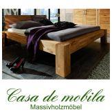 Massivholz Bett 140x200 Eiche massiv geölt Holzbett Wildeiche parkettverleimt