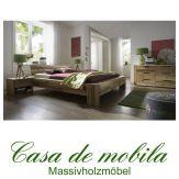 Massivholz Balkenbett 140x200 Bett Holzbett Wildeiche massiv natur geölt