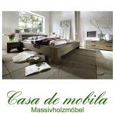 Massivholz Balkenbett 140x200 Bett Holzbett Wildeiche massiv räucheröl-finish