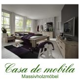 Massivholz Balkenbett 140x200 Bett Holzbett Wildeiche massiv white-wash