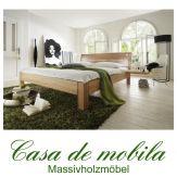 Massivholz Bett Einzelbett 90x200 XL Holzbett Kernbuche massiv geölt