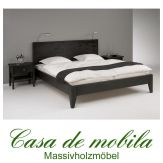 Massivholz  Bettgestelle Doppelbett 180x200 XL Holzbett Bett Kolonial Kiefer massiv schwarz lackiert