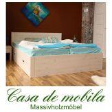 Massivholz Schubladenbett weiss Kiefer massiv Bett mit Schubladen Holzbett Seniorenbett RAUNA XL Schubkastenbett 140x200, weiß