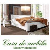 Massivholz Schubladenbett weiss Kiefer massiv Bett mit Schubladen Doppelbett Schubkastenbett RAUNA 180x200, Funktionsbett weiß