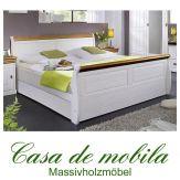 Doppelbett 180x200 Kiefer massiv weiß / Absetzungen honig NEAPEL