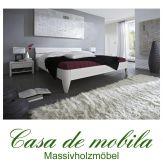 Massivholz Doppelbett 140x200 Futonbett Holzbett Kiefer massiv weiß lackiert