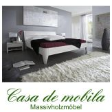 Massivholz  Bettgestelle Doppelbett 140x200 XL Holzbett Bett Kiefer massiv weiß lackiert