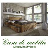 Massivholz Schubladenbett 140x200 Holzbett Bett Eiche massiv geölt