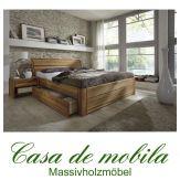 Massivholz Schubladenbett 140x200 Bett mit Schubladen Eiche massiv geölt