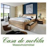 Massivholz Schubladenbett 140x200 Holzbett Bett Kernbuche massiv geölt