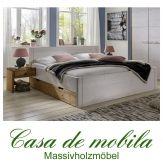 Massivholz Schubladenbett weiß Kiefer massiv Bett mit Schubladen Holzbett Seniorenbett RAUNA XL Schubkastenbett 100x200