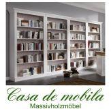 Massivholz Bücherwand Kiefer massiv weiss Regale Bücherschränke BERGEN weiß