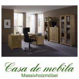 Massivholz Büromöbel Set Büroeinrichtung Kiefer massiv GULDBORG 5-teilig