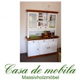 Massivholz Buffetschrank Küchenschrank Landhausstil Bergen - Holz Kiefer massiv 2-farbig weiß - honig