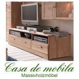 Massivholz TV-Lowboard Buche massiv natur geölt CASERA - TV-Kommode Kernbuche / Rotkernbuche