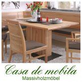Massivholz Säulentisch Tisch  Holz Buche massiv geölt CASERA - 150x95 cm Rotkernbuche
