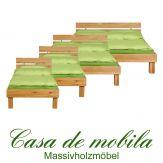 Massivholz Bett eiche massiv geölt holzbett Wildeiche CAMPINO Einzelbett 100x200,