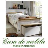 Massivholz Schubladenbett Bett mit Schubladen 100x200 Kiefer massiv weiß gelaugt geölt 2-farbig EVA