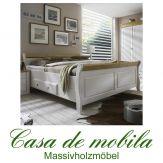 Massivholz Schubladenbett  Bett mit Schubladen 200x200 Kiefer massiv weiß gelaugt geölt 2-farbig EVA