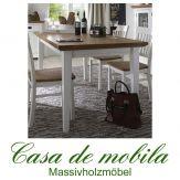 Esstisch 140x90 Schleiflack weiß ROXANNE Buche Eiche - Küchentisch massiv