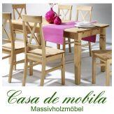 Tisch landhausstil gelaugt geölt Küchentisch 140x90 Fjord - Holz Kiefer massiv