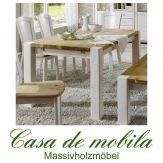 Massivholz Esstisch 180x90 Kiefer massiv 2-farbig weiß / gelaugt Tisch Kieferntisch GULDBORG