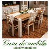Massivholz Esstisch 180x90 Kiefer massiv 2-farbig weiß / provance Tisch Kieferntisch GULDBORG