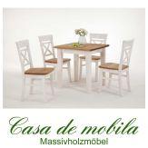 Massivholz Essgruppe Esstisch mit stühlen 5-teilig weiß / gebeizt-geölt Kiefer massiv