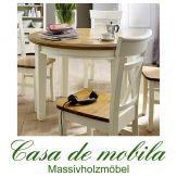 Massivholz Esstisch Tisch rund 120x120 Kiefer massiv 2-farbig weiß goldbraun Landhausstil PARIS - Vintage, cremeweiß lackiert