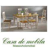 Massivholz Esstisch mit 6 Stühlen Tischgruppe Kiefer massiv 2-farbig weiß / gebeizt Bergen