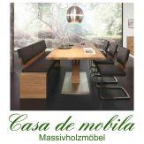 Massivholz Esszimmer-Garnitur Asteiche massiv natur geölt - Speisezimmer 5-teilig ACERRO