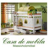 Massivholz Etagenbett mit Schubladen Buche massiv weiß HANNOVER - Doppelstockbett Kinderbett mit Vorhang