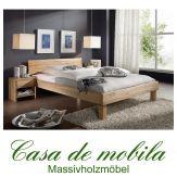 Doppelbett Kernbuche massiv geölt Holzbett CAMPINO Bett 180x200, geschlossenes Kopfteil