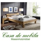 Doppelbett Eiche massiv geölt Futonbett Bett Wildeiche CAMPINO - 140x200, natur geölt