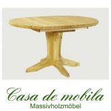 Massivholz Ausziehtisch Tisch rund ausziehbar Kiefer gelaugt geölt STELLA Ø105 natur lackiert / provance / weiß