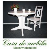 Massivholz Esstisch rund ausziehbar Tisch Kiefer massiv weiss STELLA 105 natur lackiert / provance / weiß